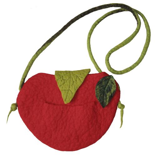 Gefilzte Tasche in Apfelform aus Filz